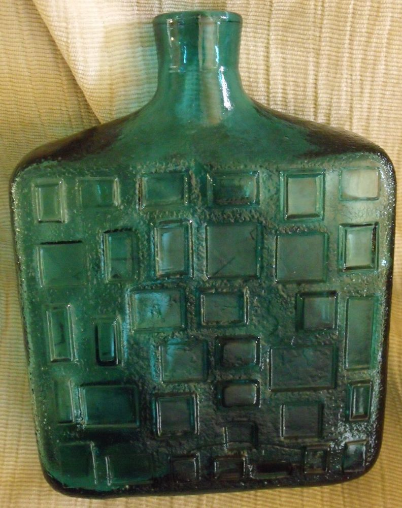 Gorgeous Mid Century Modern Italian Glass Decanter Bottle-1960's teal in Antiques, Decorative Arts, Glass | eBay