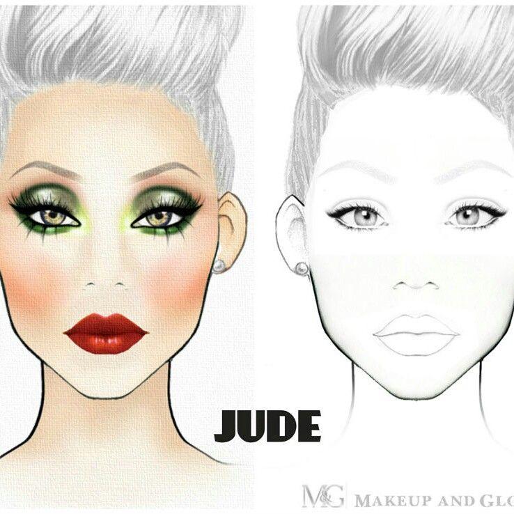 Green Look Makeup Face Charts Mac Face Charts Face Chart