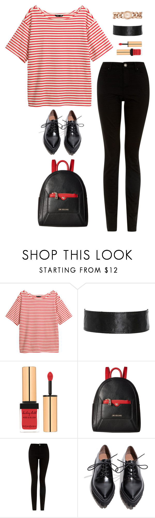 """Unbenannt #1716"" by uniqueautumn ❤ liked on Polyvore featuring H&M, Yves Saint Laurent, Love Moschino, Jeffrey Campbell and Topshop"