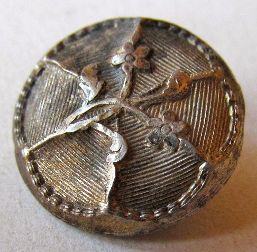 18th Century, Repoussé, Wood Back Picture Button With Catgut Shank