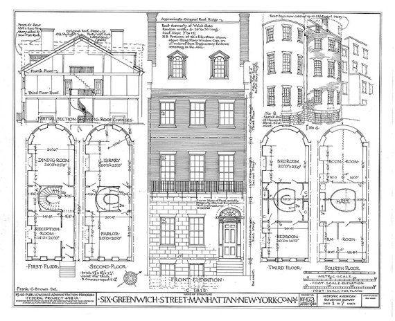 6 greenwich street manhattan new york city architectural drawing 6 greenwich street manhattan new york city architectural drawing blueprint giclee fine art print 18x 24 malvernweather Gallery
