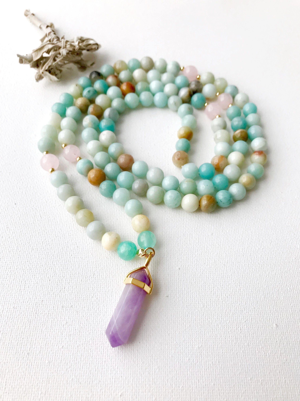 Amazonite Mala Beads Healing Crystals Mala Beads Prayer Beads