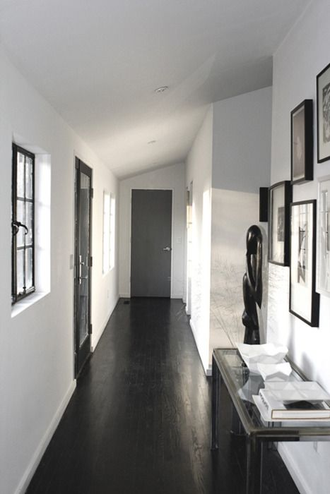 Love Dark Wood White Black Wood Floors Black And White Hallway White Hallway