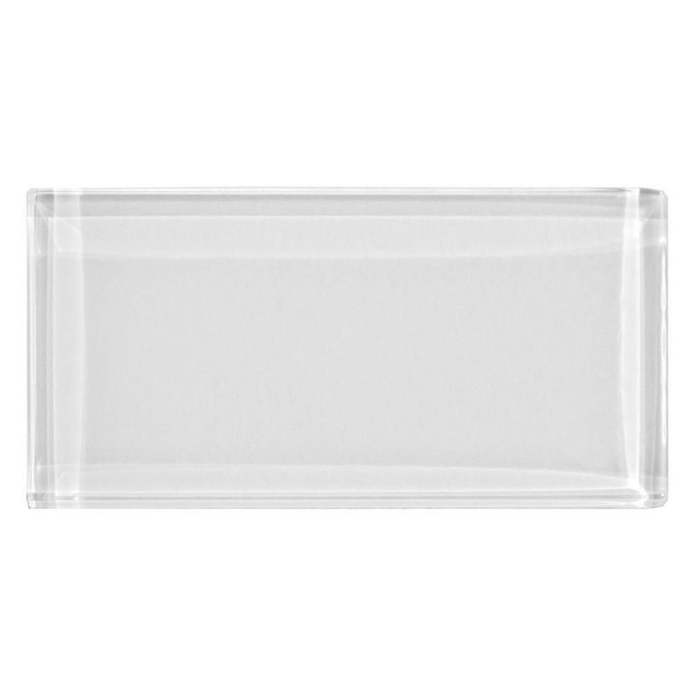 pure snow white shiny glass tile 3in