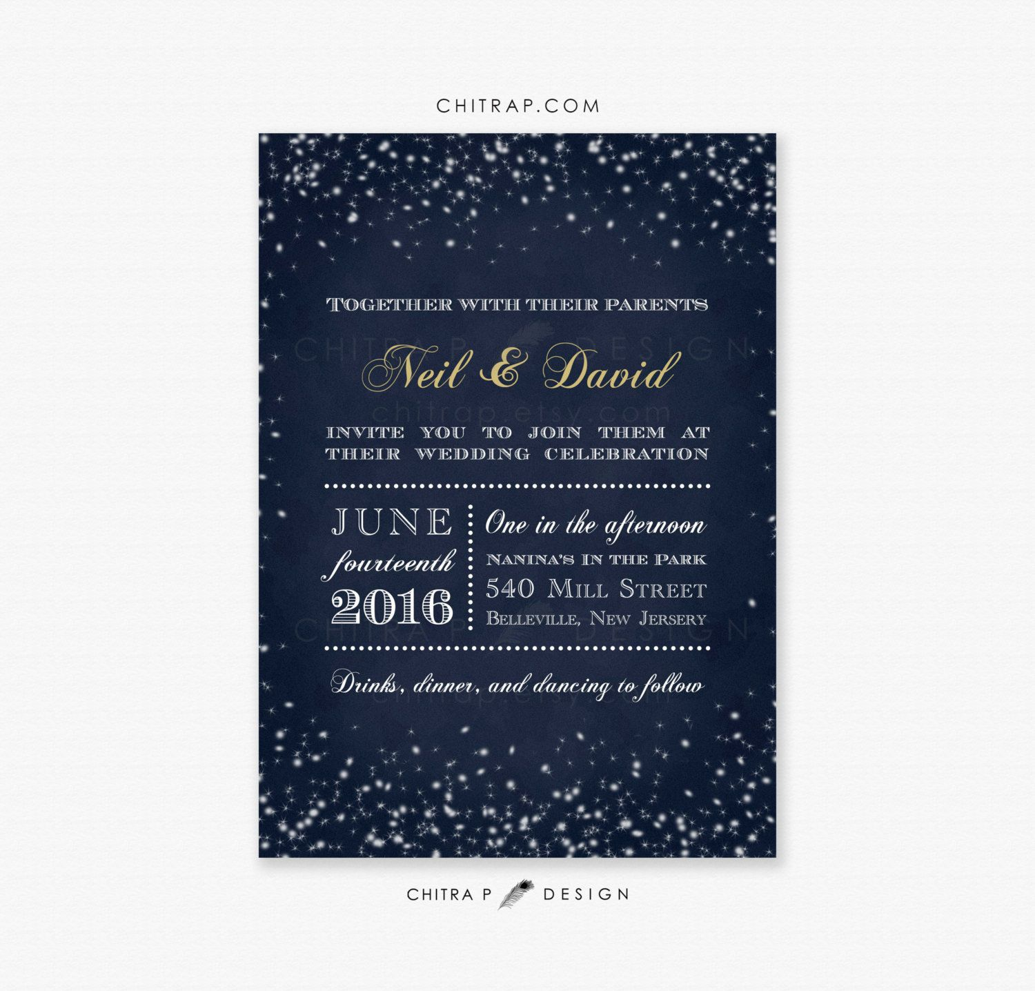 Starry Night Wedding Invitations Printed Midnight Blue By Chitrap