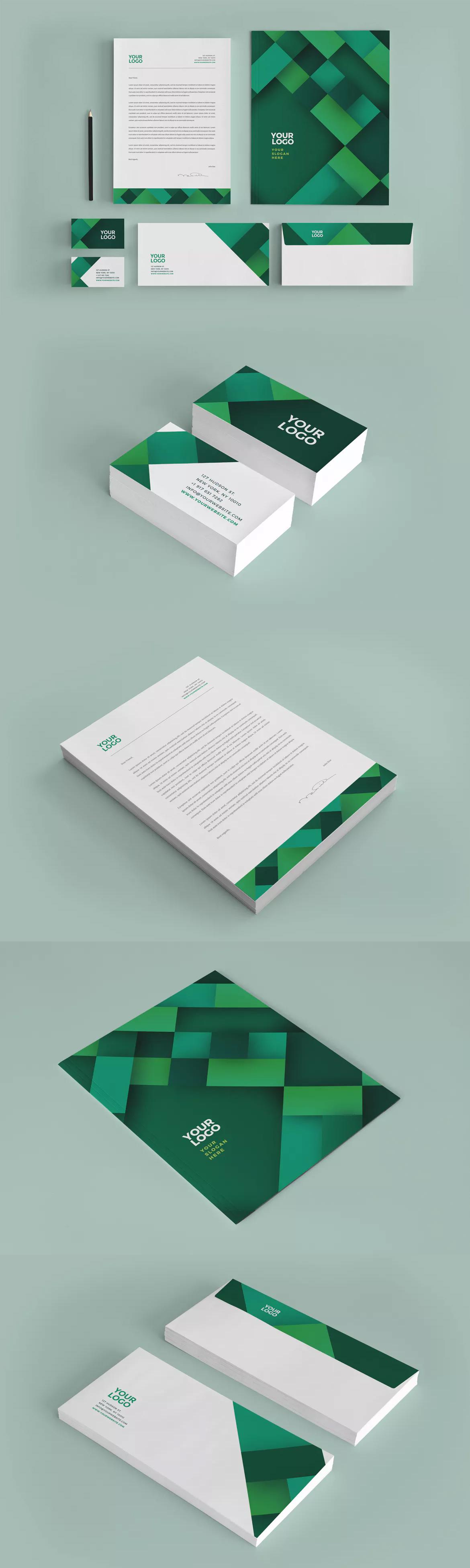 Professional green business stationery ai eps corporate identity professional green business stationery ai eps wajeb Images