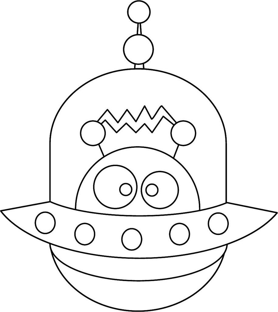 cute alien coloring page | Outer space ideas | Pinterest