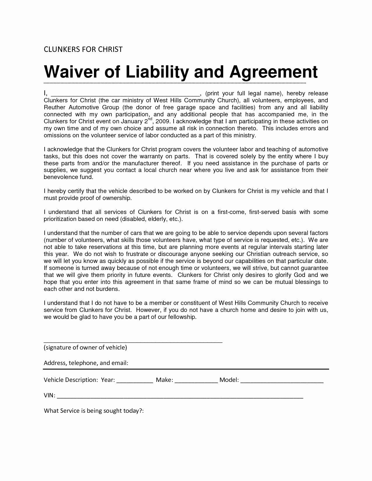 Liability Release Form Template Unique Liability Release Form Template General Liability Liability Waiver Liability