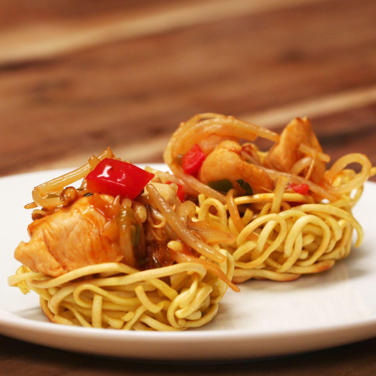 Chicken Chow Mein Nests Recipe Chicken Chow Mein Recipes Proper Tasty