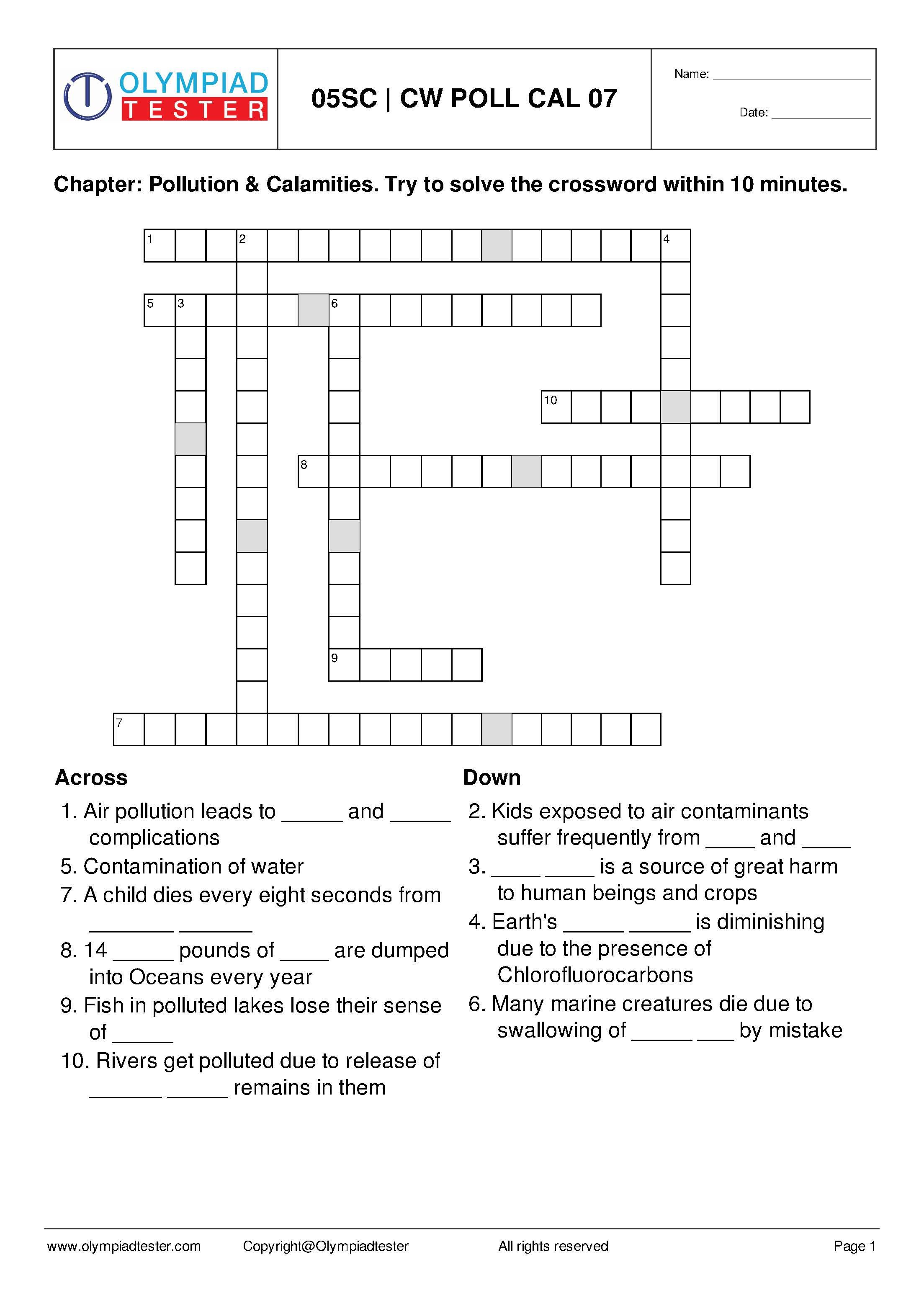 Class 5 Science Crossword Puzzles Pollution And Calamities Crossword Puzzles Crossword Jigsaw Puzzles For Kids