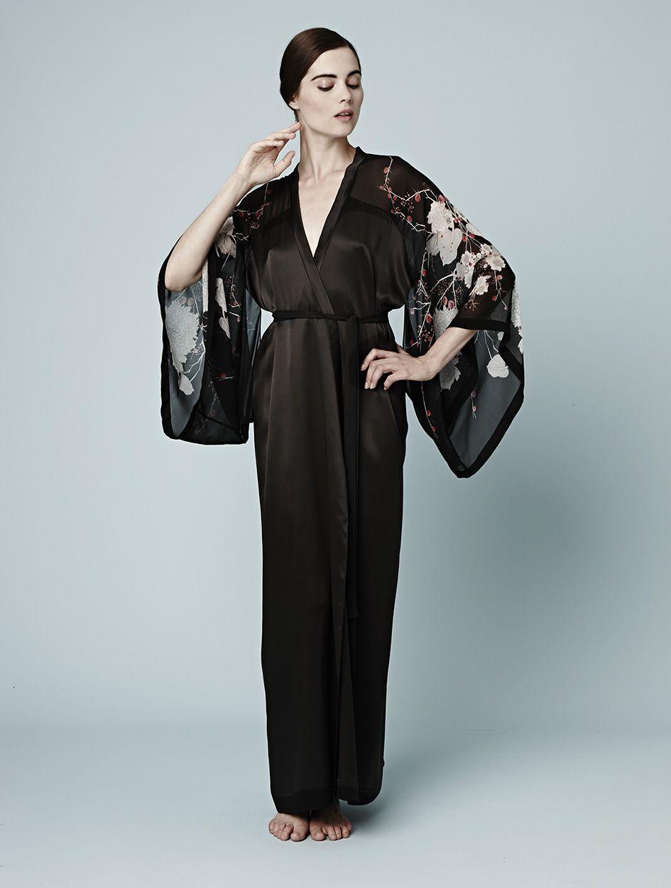 80a1db7eb3 Meng AW14 luxury loungewear - Cherry Blossom print - silk georgette satin  kimono - black