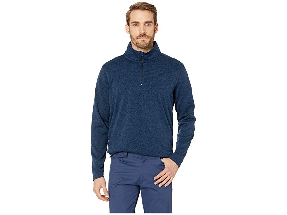 Wrangler George Strait Knit Pullover (Blue Heather) Men's Clothing. Sing a few tragic songs and melodies over a few beers at the bar with this Wrangler George Strait Knit Pullover. Part of the George Strait Collection. Knitted pullover with stand collar. Long sleeves. Quarter-zip placket. Logo at the left chest. Straight hemline. 100% cotton. Machine wash  tumble dry. Imported. Measurements: Length: 30 1 2 in Product measureme #Wrangler #Apparel #Top #GeneralTop #Blue