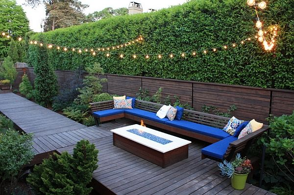Sparkling String Lights for Dazzling Décor in Your Room: Simple But Imposing Outdoor Patio With Accent Blue U Shaped Sofa With Coffee Table ...