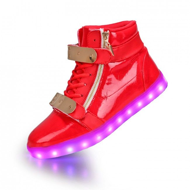 f680247b5 Women s Red Metal Plate and Zips LED Luminous Shoes
