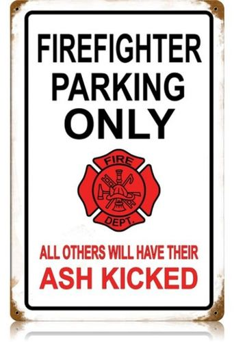Vintage-Retro Firefighter Parking Metal-Tin Sign