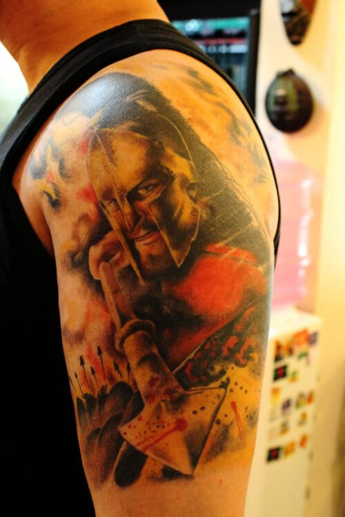 300 Spartan Tattoo Designs And Ideas On Arm With Images Greek