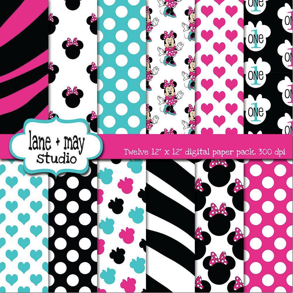 pink, black and aqua minnie mouse digital scrapbook papers. $10.00 ...