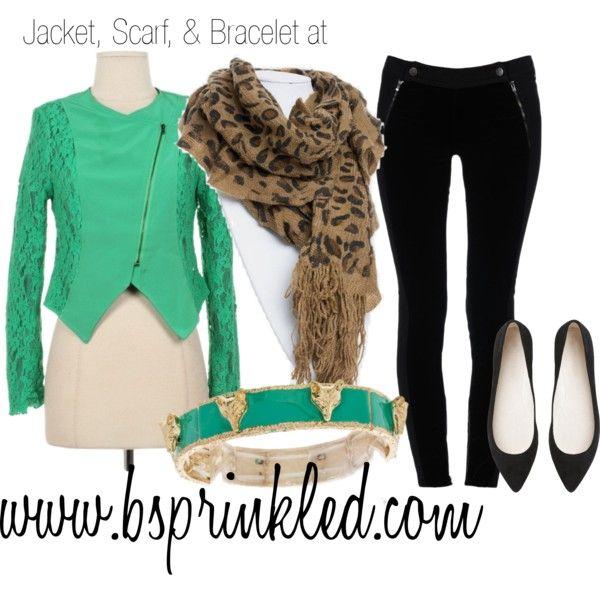 facebook.com/bsprinkled mint jacket, leopard scarf, fox bracelet