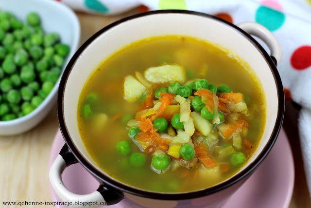 Qchenne-Inspiracje! Odchudzanie, dietoterapia, leczenie dietą: Zupa jarzynowa z zielonym groszkiem. Pyszna, aroma...