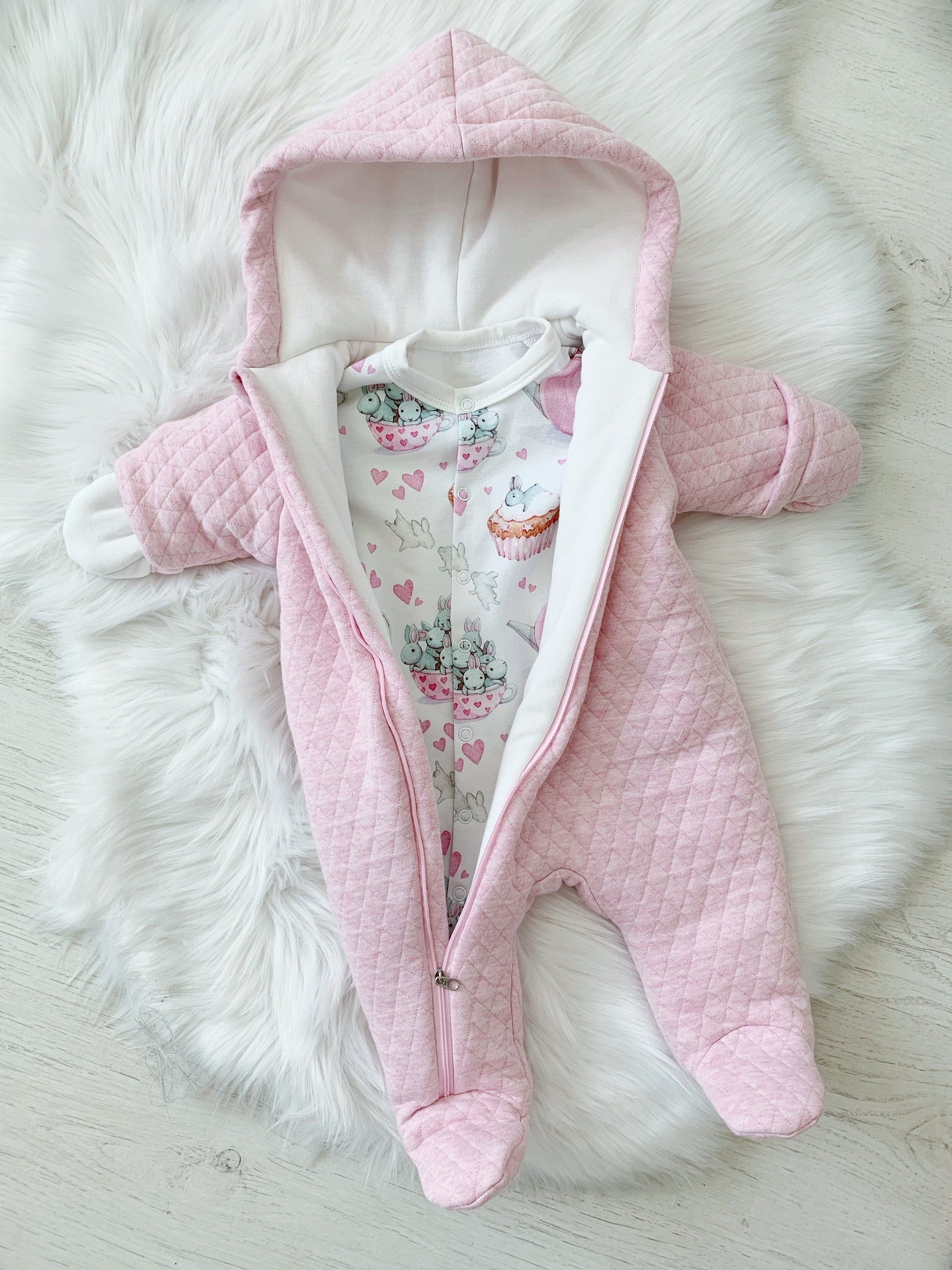 Pink jumpsuit for newborn baby girl Warm overall Warm baby clothes
