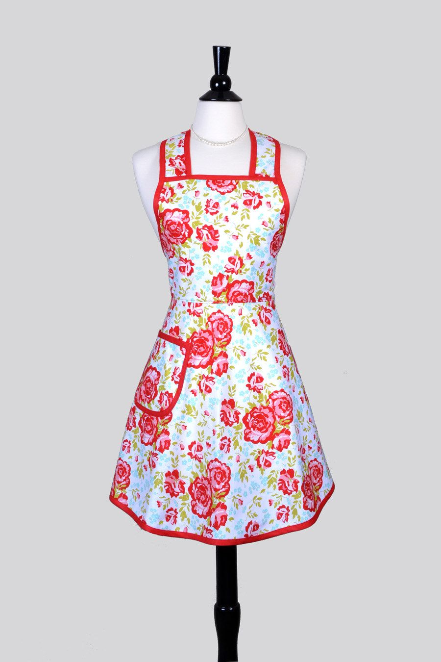 50s Style Retro Apron - Red and Turquoise Floral Womans Vintage ...