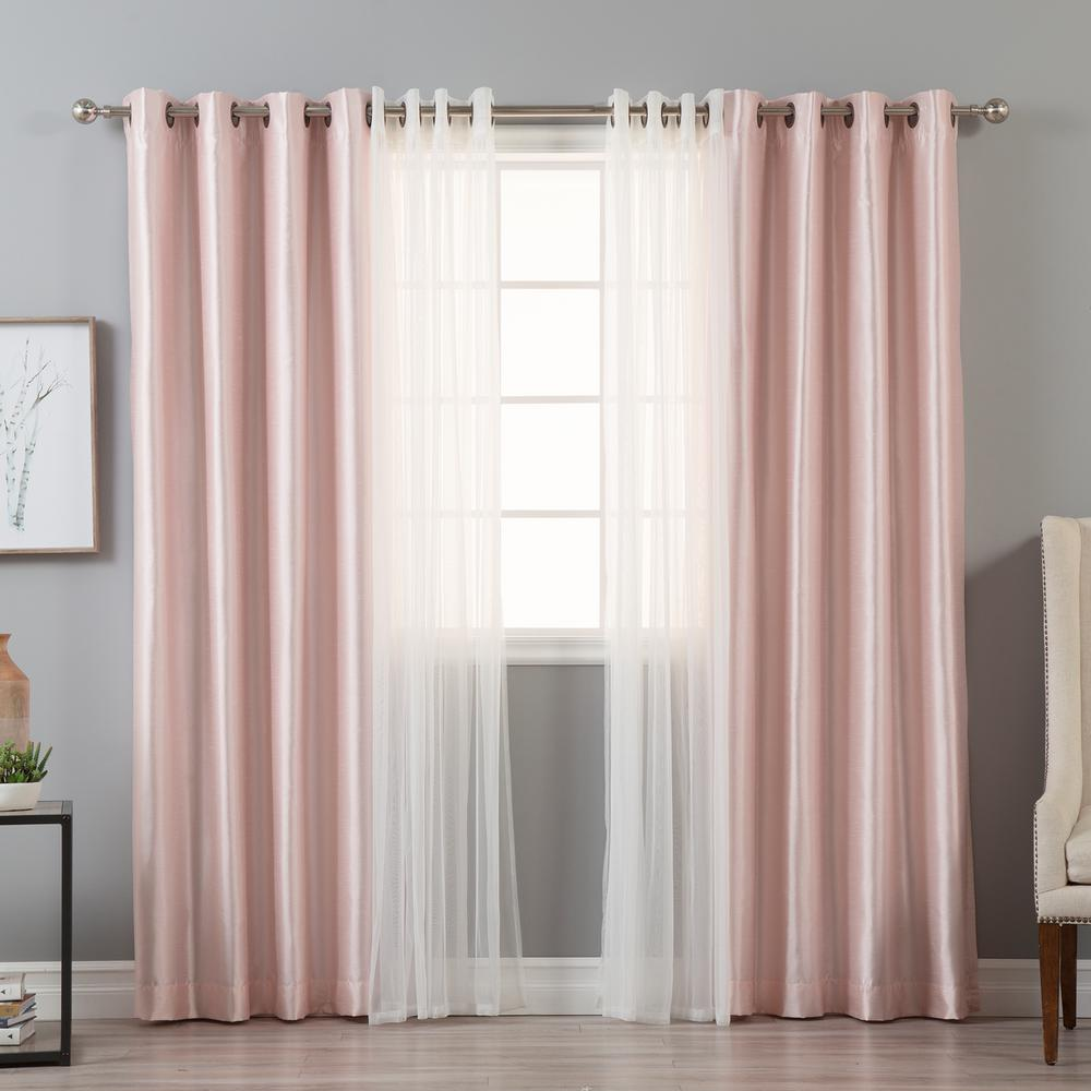 Best Home Fashion 84 In L Umixm Tulle And Light Pink Faux Silk