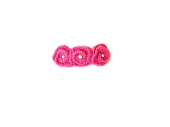 Old rose crochet roses hair barrette clip by ATLASKNITSHOP on Etsy, $5.00