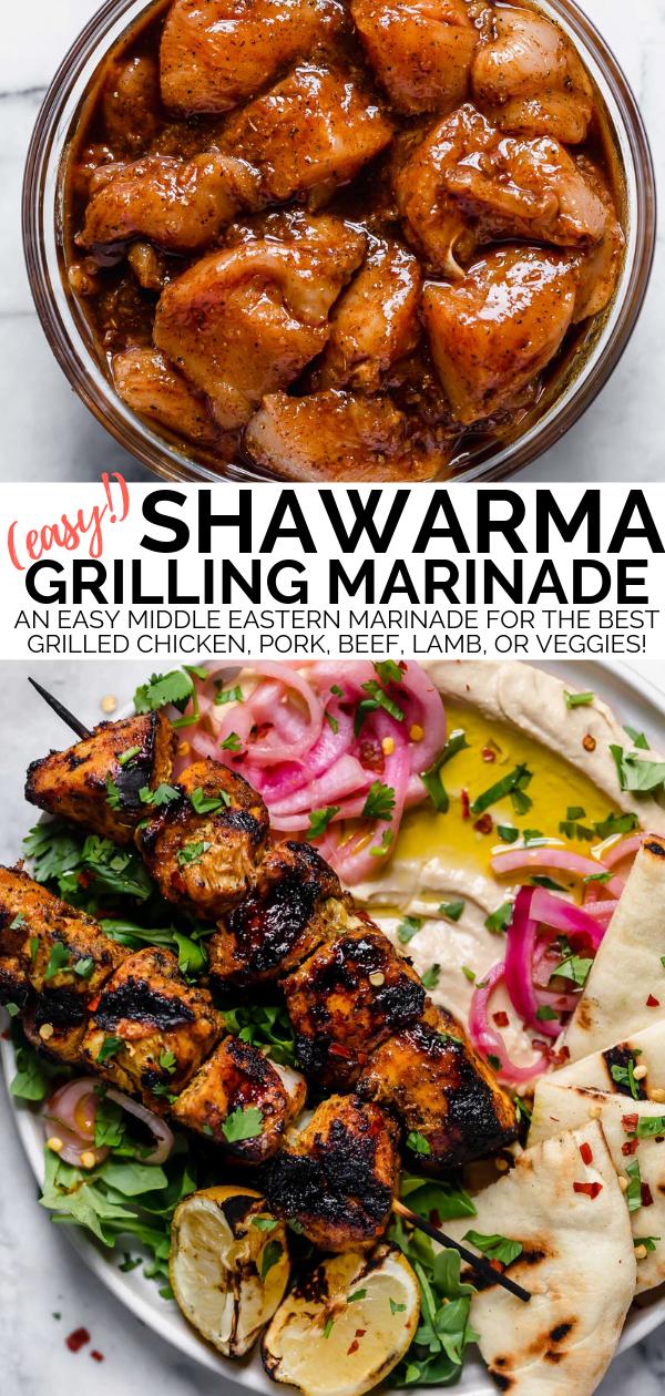 Photo of an easy shawarma marinade recipe filled with an easy homemade shawarma seasonin