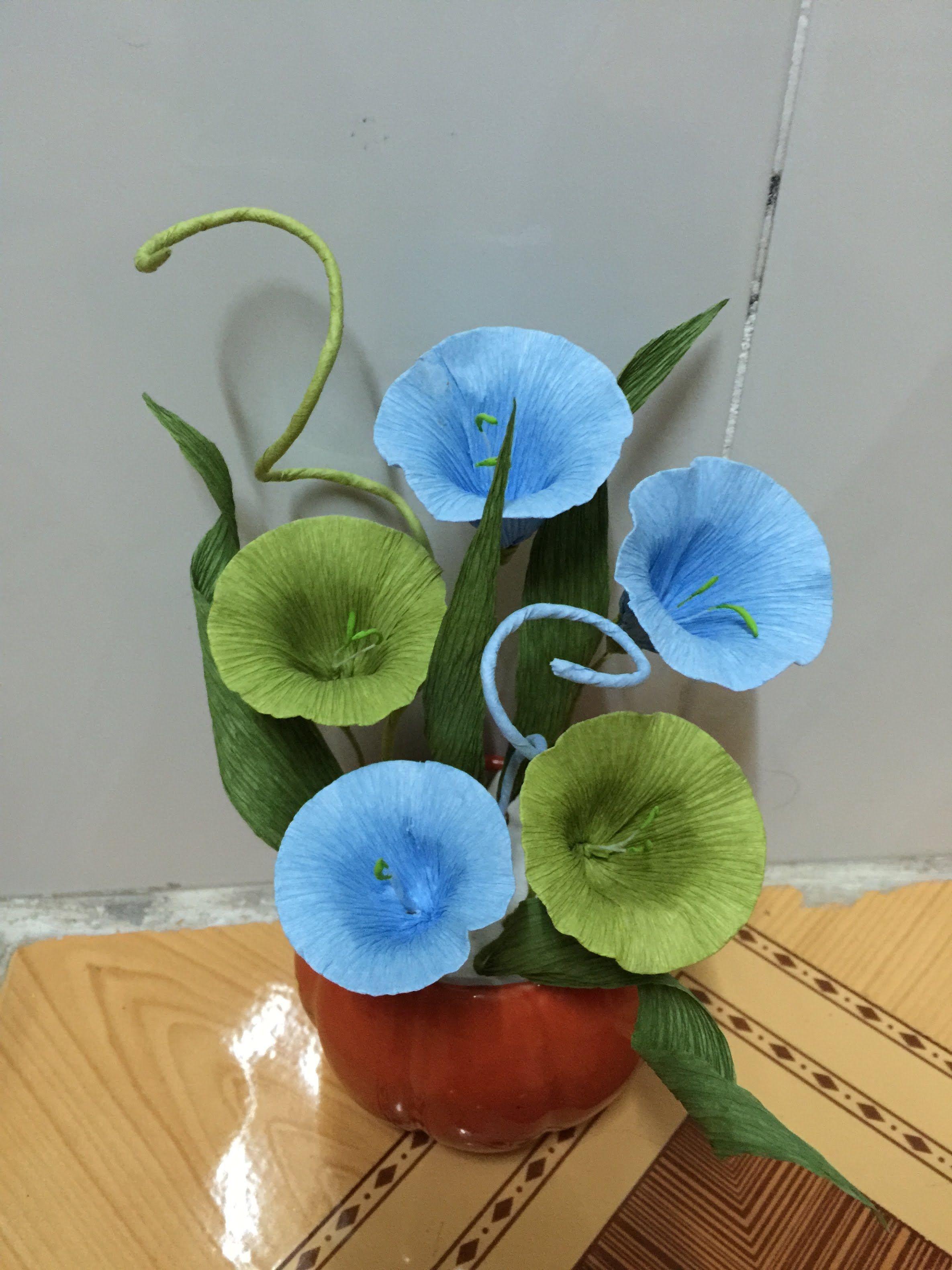 Làm hoa rau muống đẹp đơn giản  cách làm hoa bằng giấy