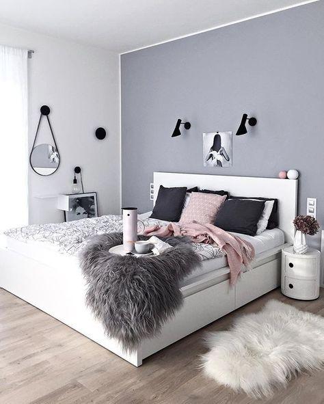 Graue Wandfarbe und Art des Streichens (weiße Ränder - schlafzimmer ideen grau