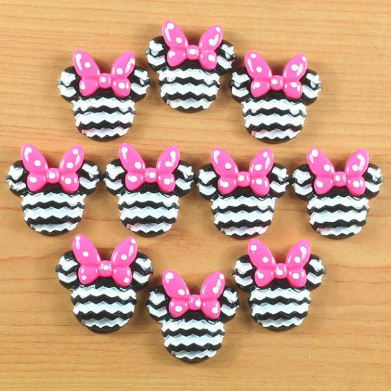 Hey, I found this really awesome Etsy listing at https://www.etsy.com/listing/187430403/10pcs-minnie-mouse-pink-bow-black-white
