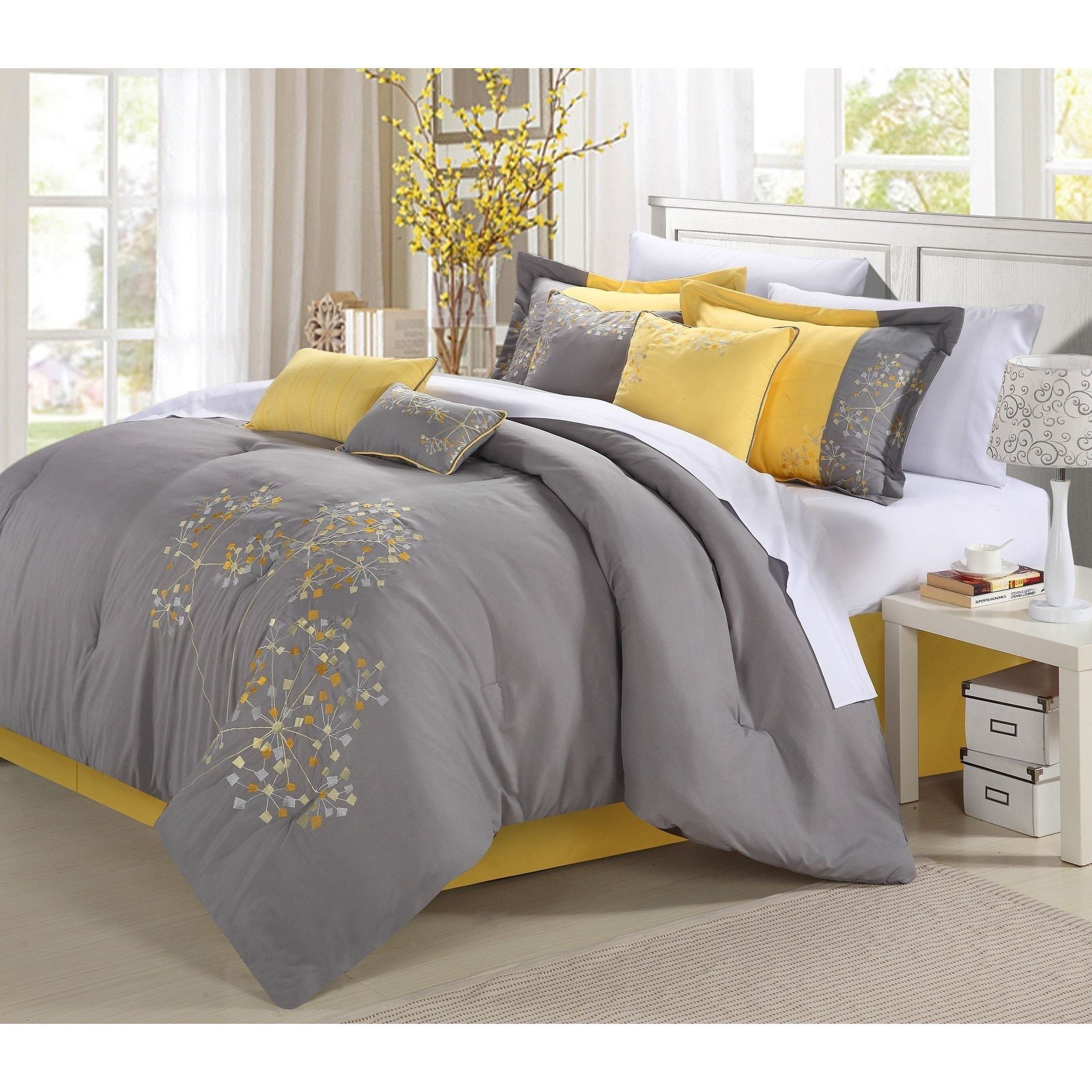 Chic Home Shea 12 Piece Yellow Embroidered Floral Comforter Set
