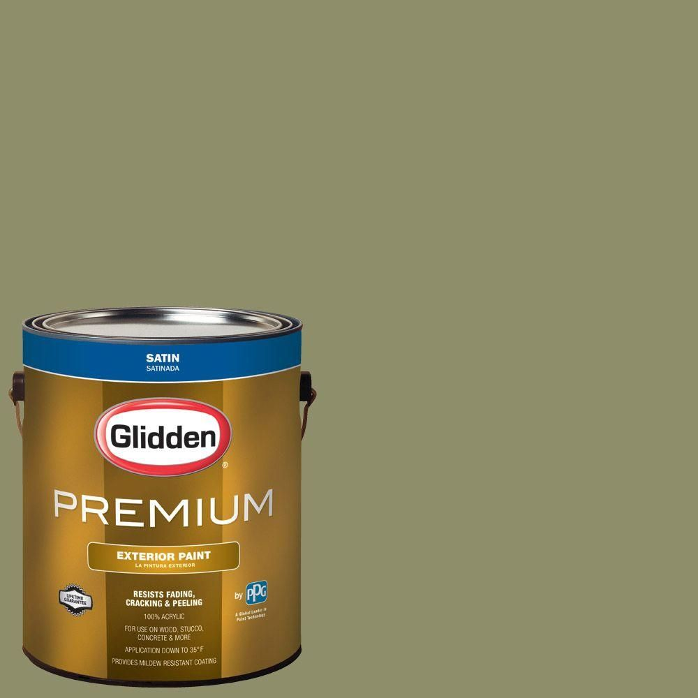 Glidden Premium 1-gal. #HDGG25D Hedgerow Olive Satin Latex Exterior Paint