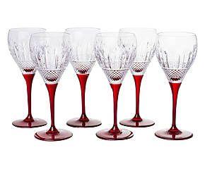 Set di 6 calici da acqua in cristallo con rilievi chaleroi rubino - d 8/h 21 cm
