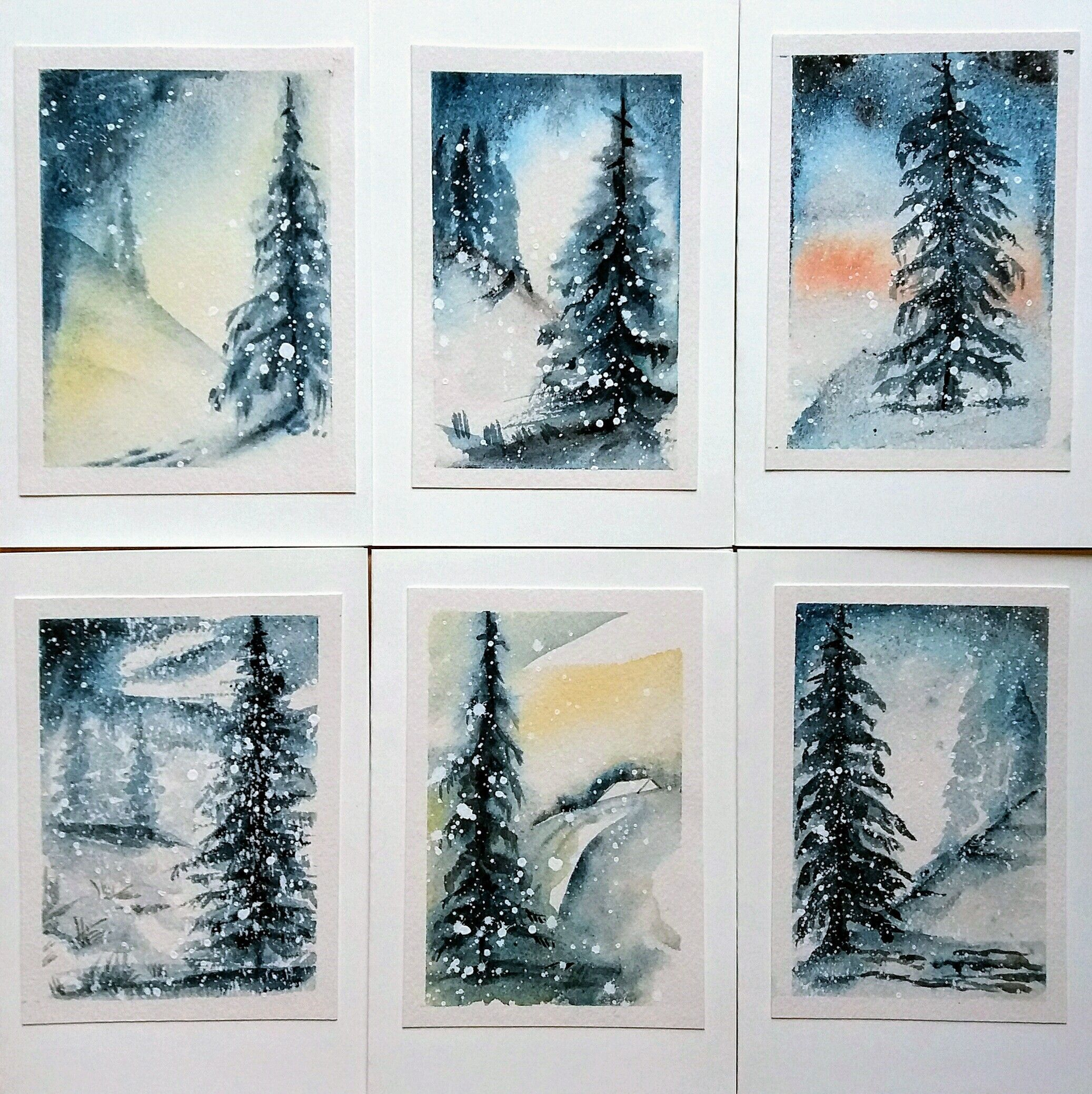 Aquarell Karten Weihnachten Watercolor Cards Aquarell