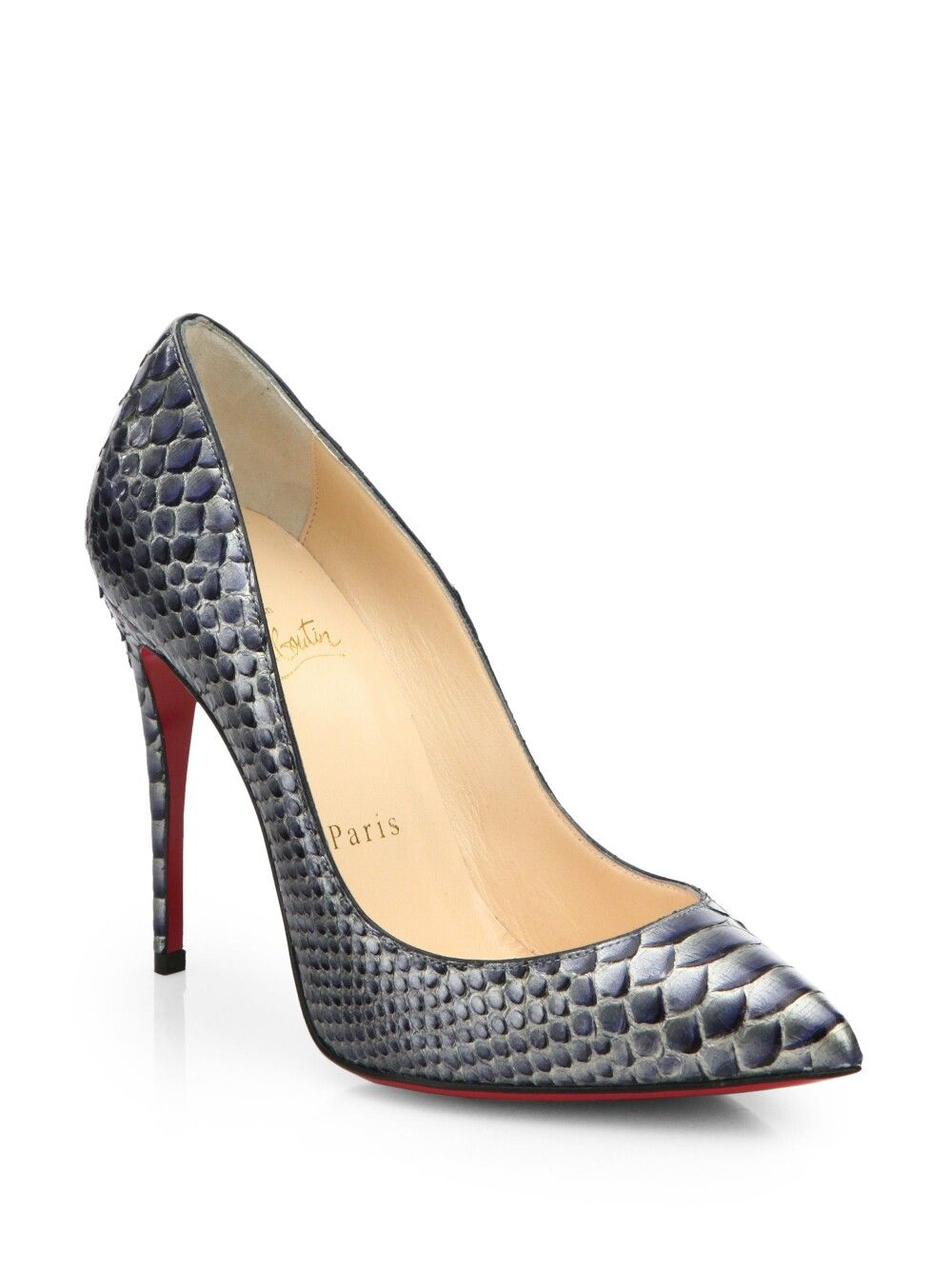 75a3bbb21fe Christian Louboutin Pigalle Follies snake skin heels via Lyst.com ...
