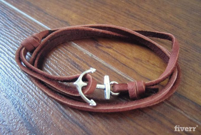 As a distinct 2013 fashion trend, nautical clothes and accessories have been showing up everywhere. Fashion forward seller richmondco has the perfect accessory for any outfit > http://fiverr.com/richmondco/make-you-a-handmade-nautical-bracelet-with-a-silver-anchor-and-leather-strap?utm_source=pi_ct&utm_term=s0950