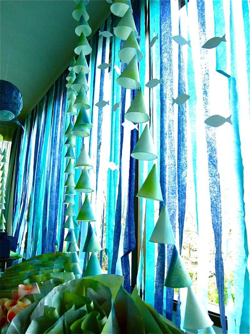 Hang Crepe Paper Streamers Over A Window For An Underwater