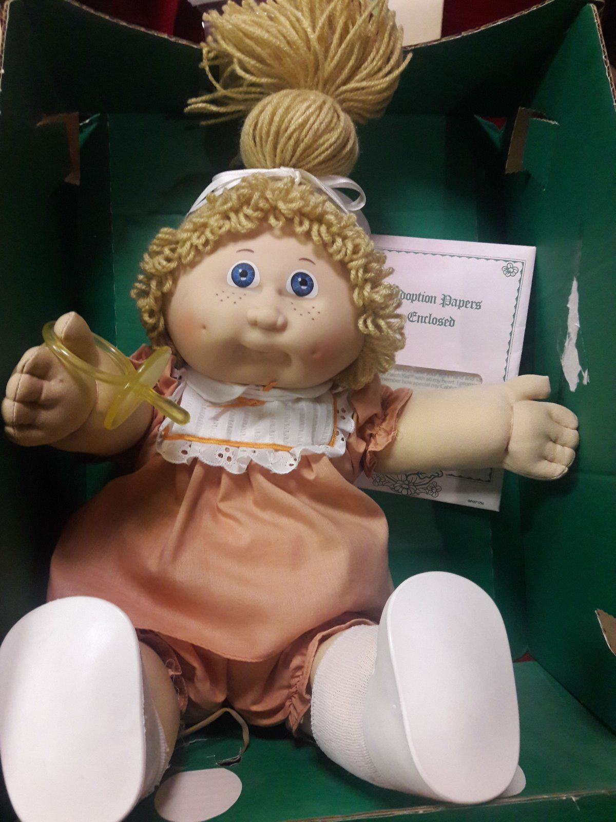 Vintage 1983 Cabbage Patch Kids Blonde Girl Doll With Pacifier In Box Coleco Cabbage Patch Kids Vintage Cabbage Patch Dolls Cabbage Patch Dolls