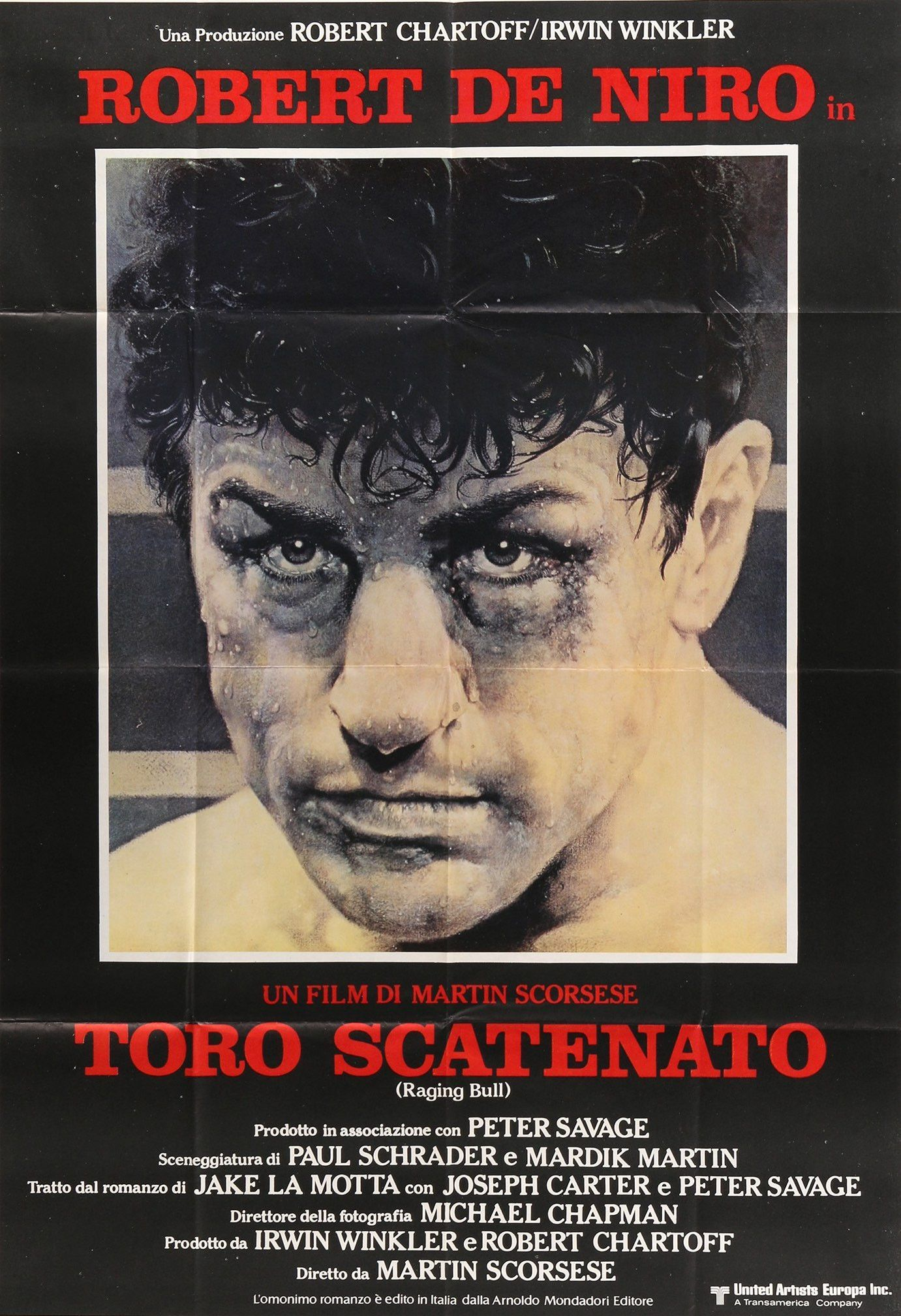 "Film: Raging Bull (1980) Year poster printed: 1981 (first theatrical release in Italy) Country: Italy Exact Size: 39"" x 55"" Artist: Kunio Hagio This is an original, Italian 2 fogli movie poster from 1"