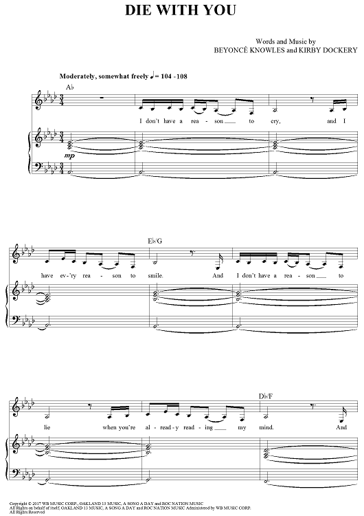 Die With You Sheet Music by Beyonce | Sheet music, Pianos and Music ...