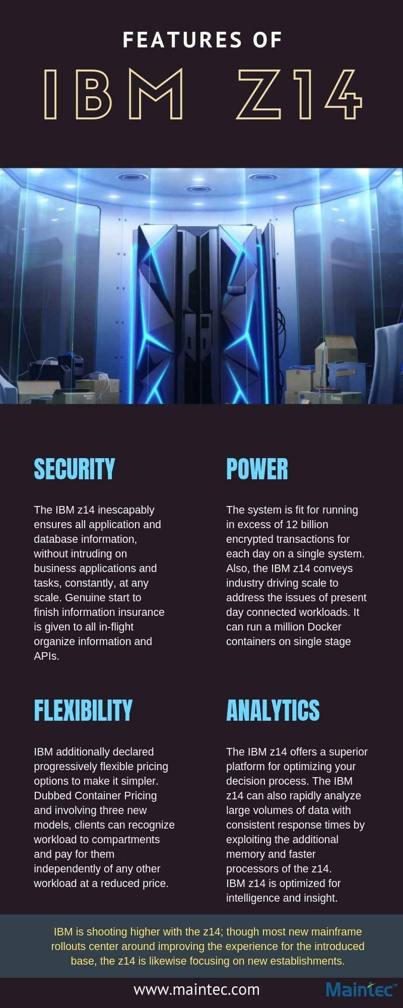 IBM z14 is the latest mainframe. This infographic
