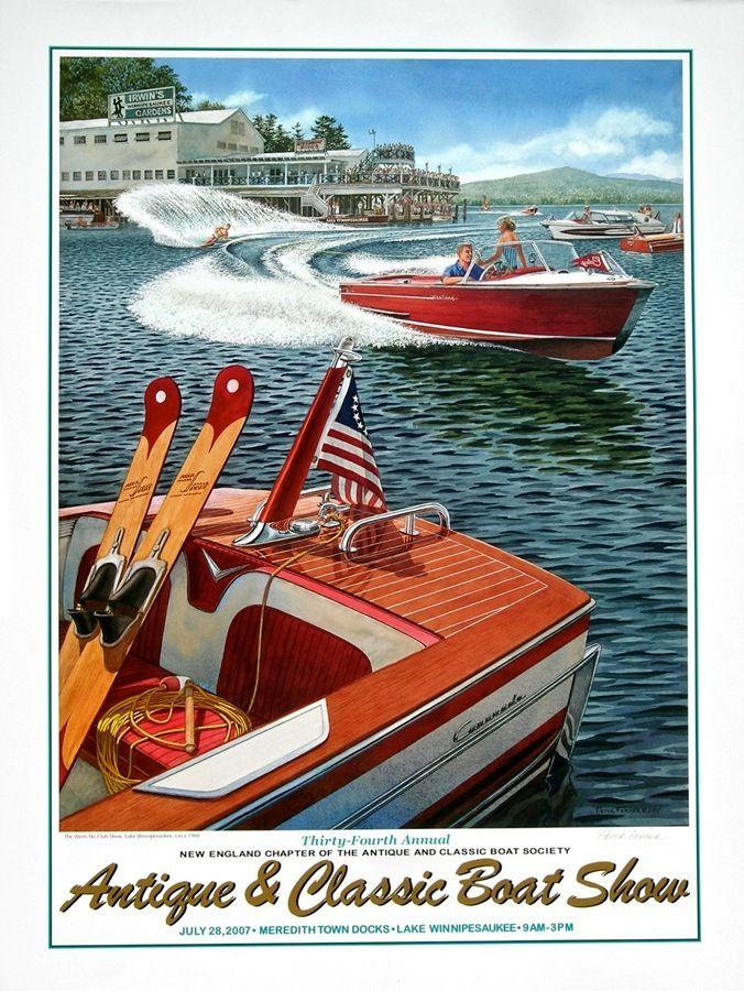 Retro ski boat Beach house d\u00e9cor Antique power boat WATER SKI Collection 2 Patent Print Set Summer house decor Water ski patent