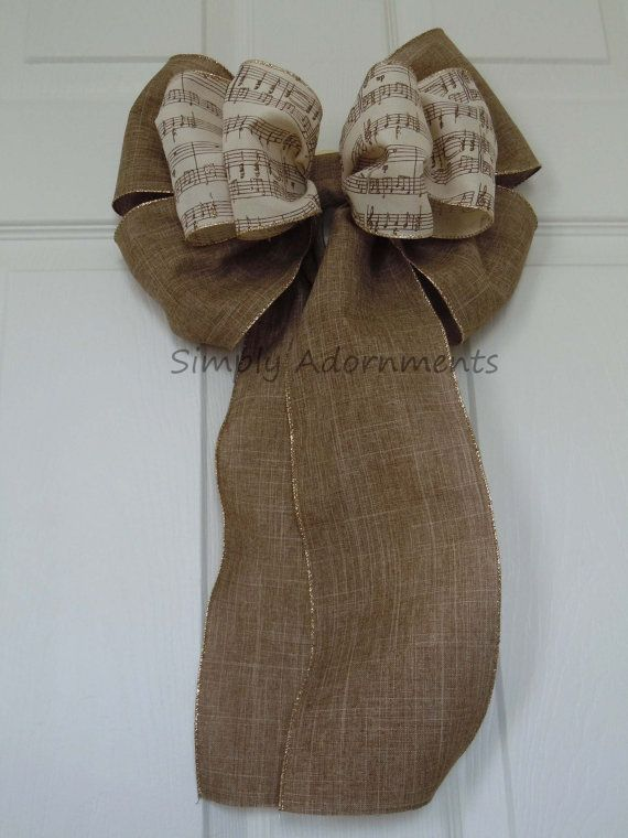 """12"""" Burlap Music Themed Wedding Pew Bows by SimplyAdornmentsss,"""