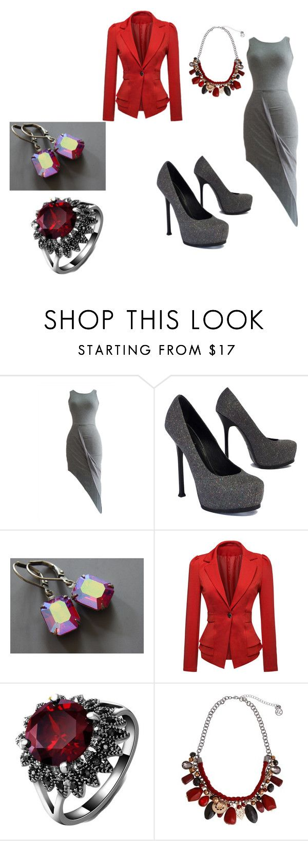 """sliver and red"" by lyniah-bailey on Polyvore featuring Yves Saint Laurent, WithChic and Erica Lyons"