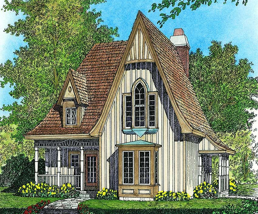 Plan 43002pf Charming Gothic Revival Cottage In 2021 Gothic House Victorian House Plans Cottage House Plans