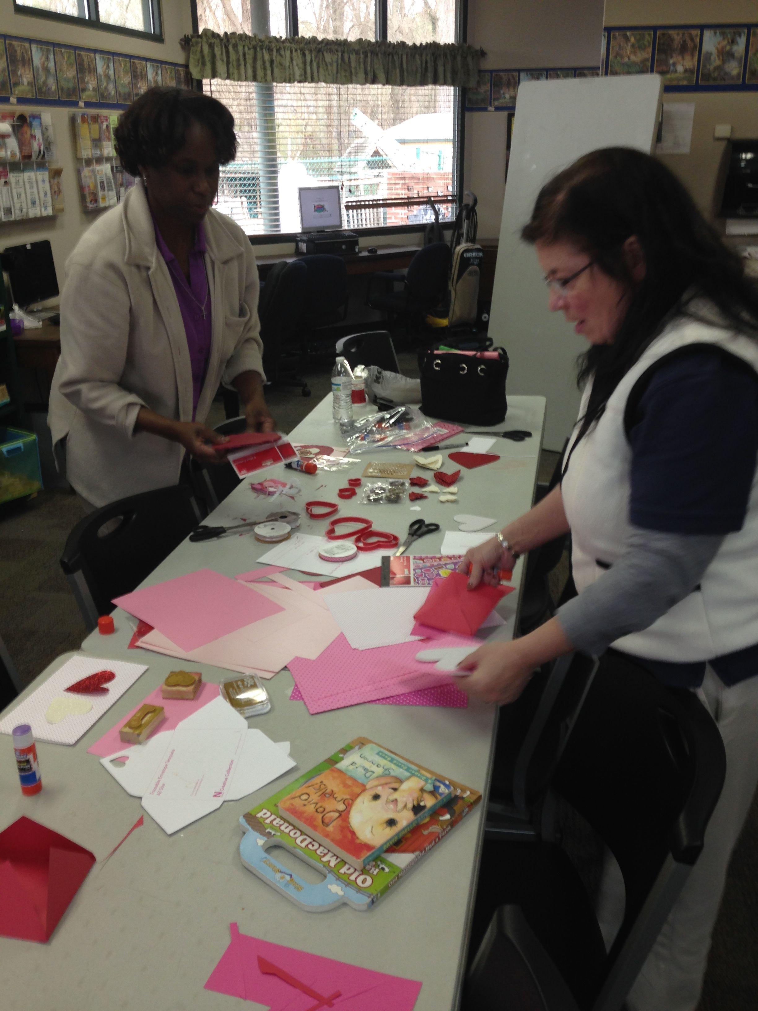 Staff making valentines