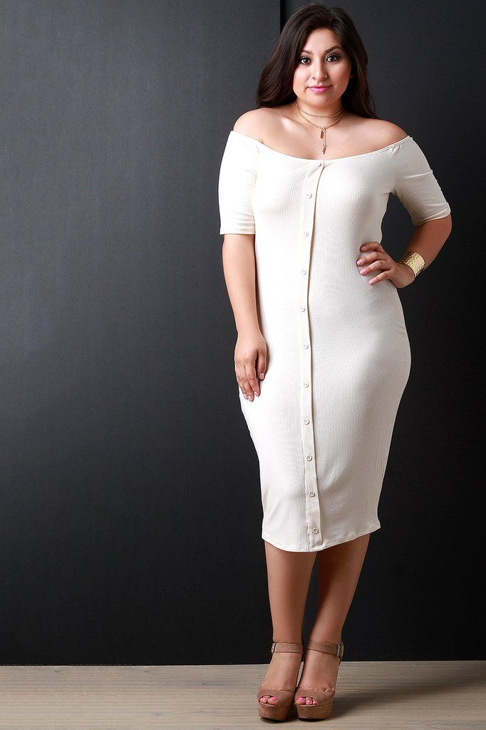 Off The Shoulder Rib Knit Button Down Dress | Plus size fall ...
