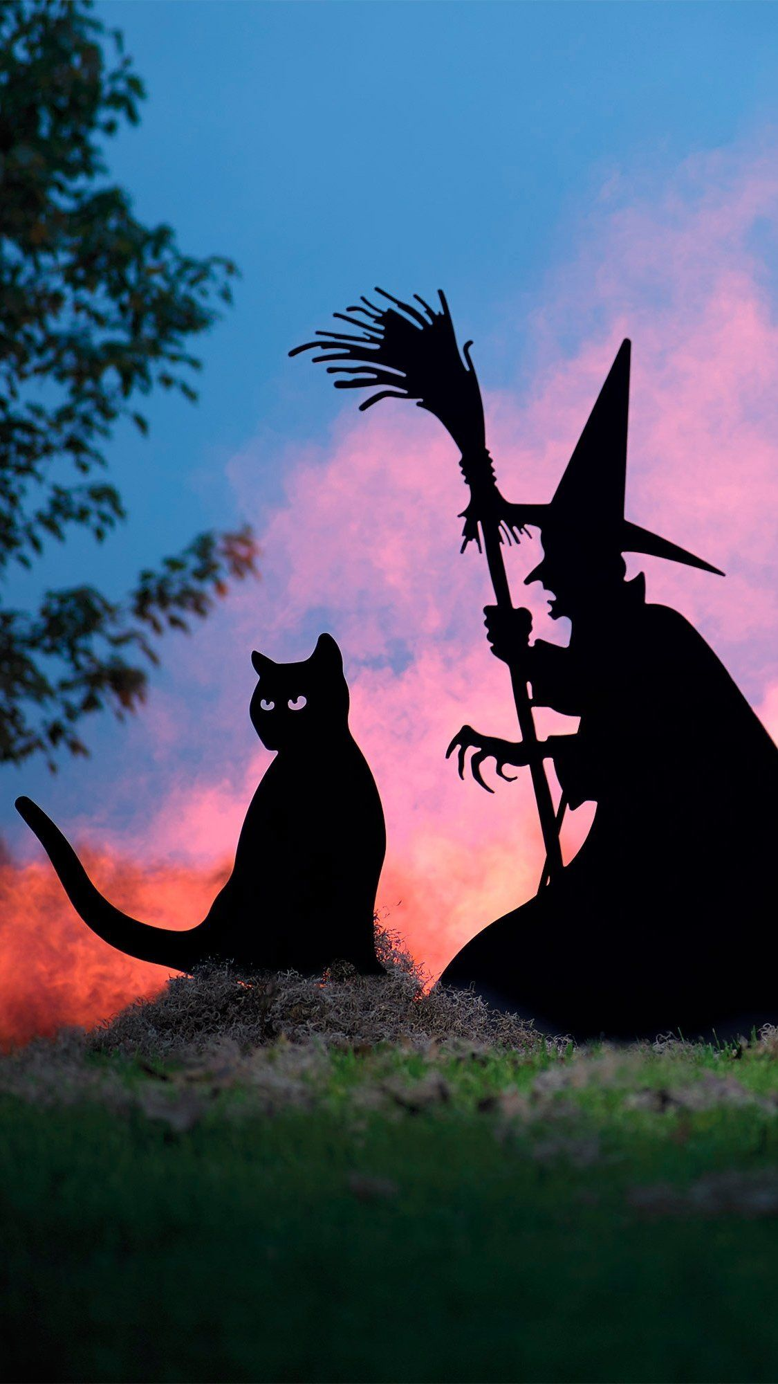 Halloween Witch And Cat Silhouettes Halloween Silhouettes