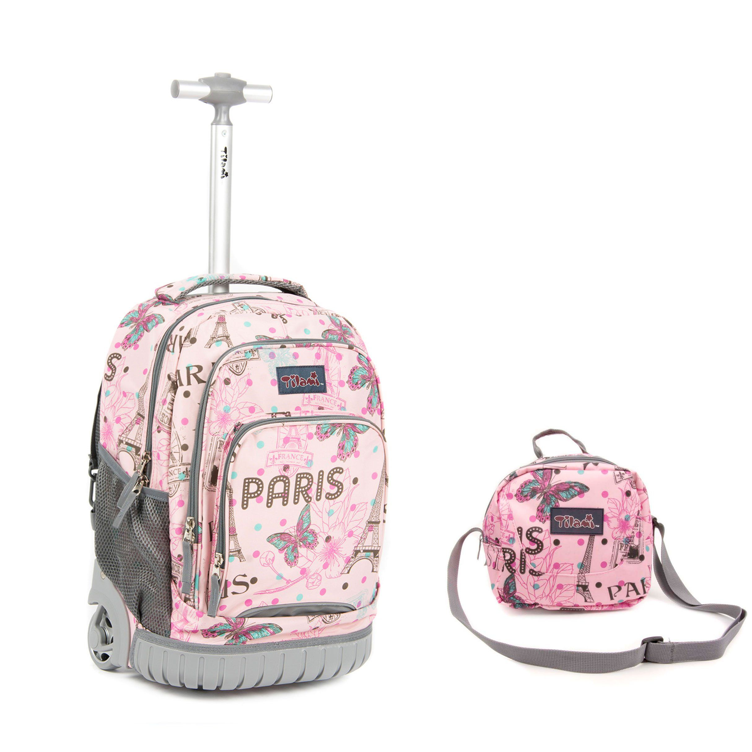 82dc7ccc47c7 Tilami New Antifouling Design 18 Inch Wheeled Rolling Backpack Luggage and  Lunch Bag (Pink Butterfly 3)